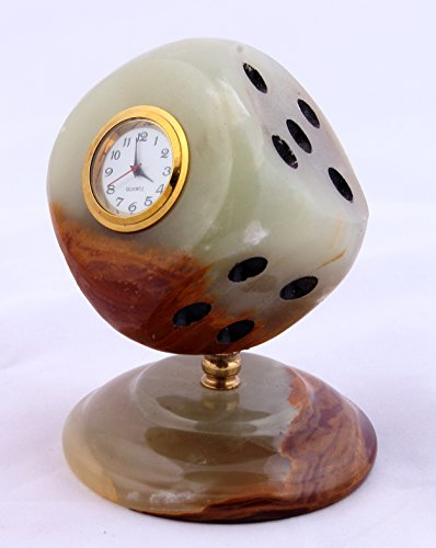 Radicaln Handmade Marble Desk & Shelf Clocks - Best Gift Items For Him or Her (Dice-Onyx)