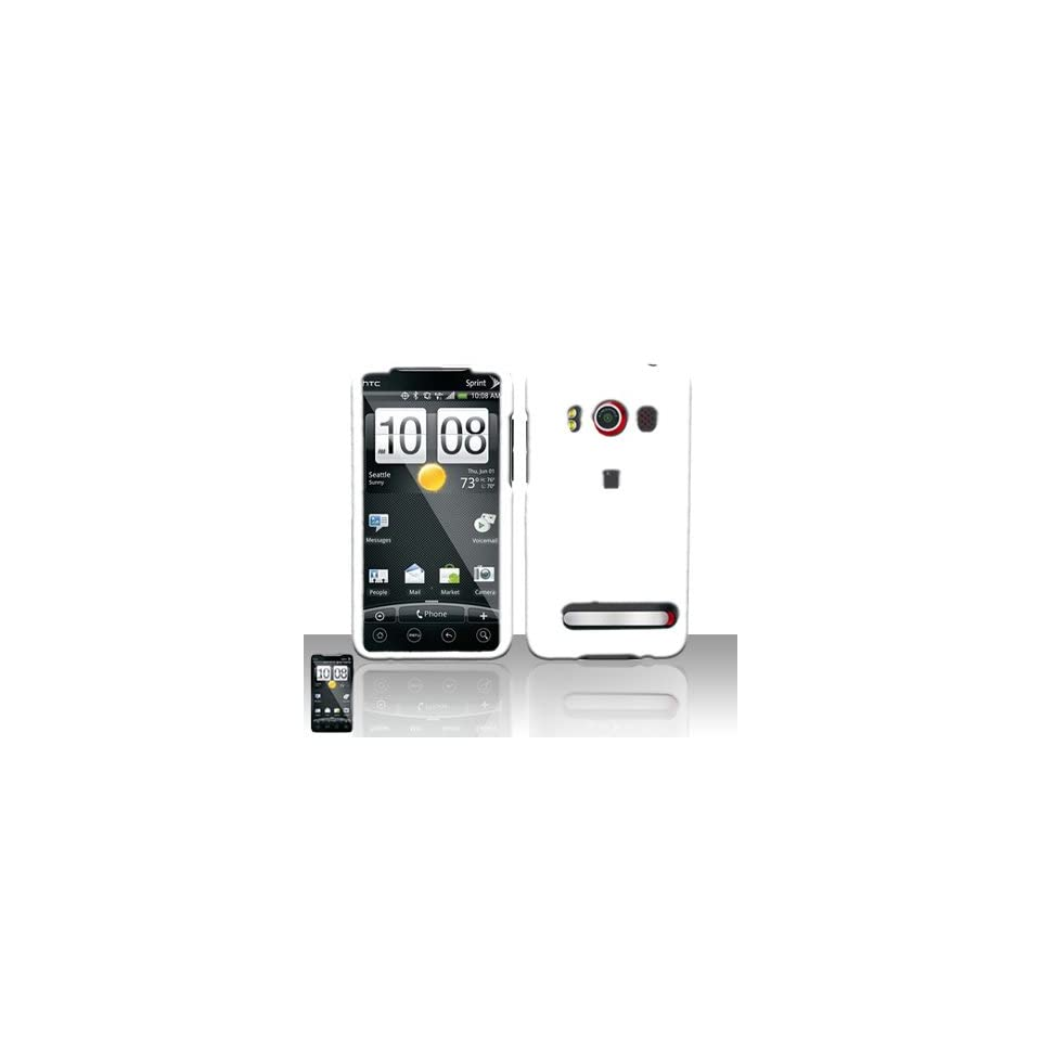 HTC Evo 4G Case Nice White Hard Cover Protector (Sprint) with Free Car Charger + Gift Box By Tech Accessories