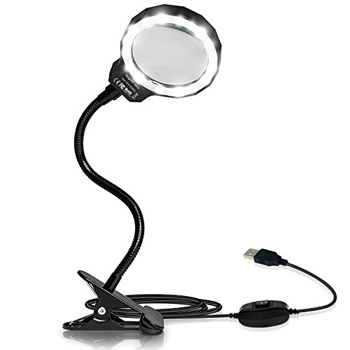 Number-One Magnifying Glass, 3X LED Lighted Magnifying Lamp USB Powered Clip On Optical Glass magnifier Lens With 2 Light Settings & Metal clamp For Reading, Hobby, soldering, Crafts - Examining Lamp