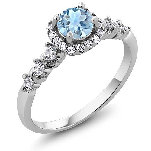 Gem Stone King 925 Sterling Silver Aquamarine and White Created Sapphire Ladies Ring 0.87 Ct (Size 7)