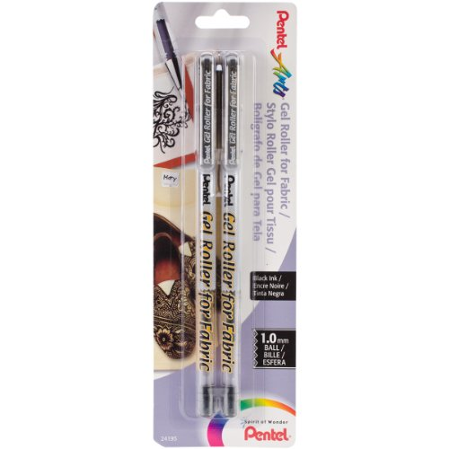 (Pentel Arts Gel Roller for Fabric, 1.0mm Bold Lines, Permanent, Black Ink, Pack of 2 (BN15BP2A))