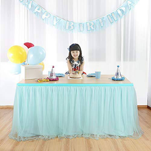 Suppromo Mint Table Skirt For Rectangle Tables or Round Table Fluffy Tutu Table Skirt Tulle Tableware with High-end Gold Brim 3 Layer Mesh for Baby Shower,Wedding,Birthday Party&Home Decoration (L6(ft