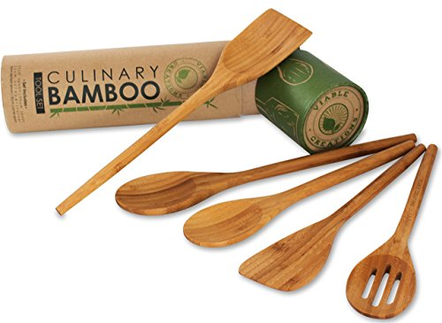 Viable Creations Handcrafted Bamboo Wooden Spoons with Cotton Muslin Bag - Set of 5
