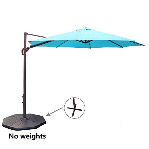 Le Papillon 10 ft Cantilever Umbrella Outdoor Offset Patio Umbrella Easy Open Lift 360 Degree Rotation, Blue Blue Open Umbrella