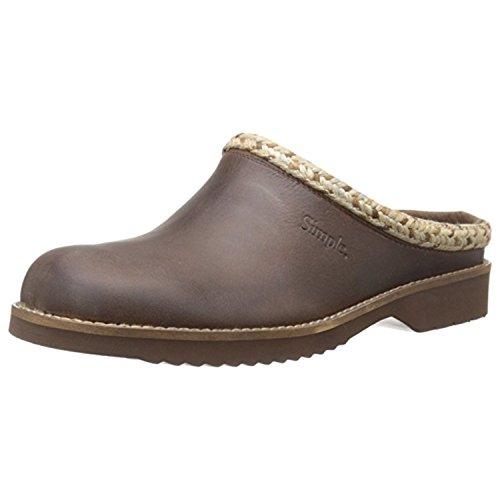 Simple Women's Hallie Mule, Dark Brown Leather, 8 M US