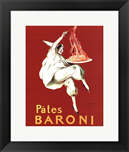Cappiello Framed Art (Pates Baroni by Leonetto Cappiello Framed Art Print Wall Picture, Black Frame with Hanging Cleat, 15 x 18)