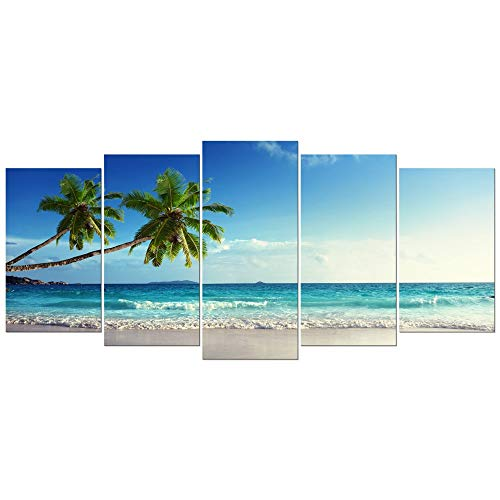 Wieco Art 5 Piece Large Modern Contemporary Ocean Sea Beach Giclee Canvas Prints Artwork Gallery Wrapped Seascape Pictures Paintings on Canvas Wall Art for Living Room Bedroom Home Decorations L (Renewed)