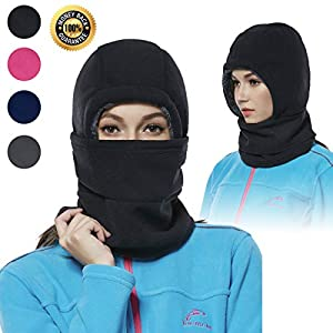 Achiou Balaclava Fleece Hood for Women Thick Ski Face Mask Hat for Cold Weather Winter Warmer Windproof Adjustable Cycling