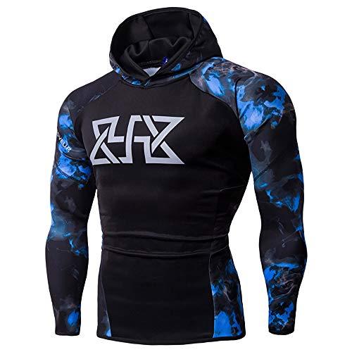 Ulanda Mens Fitness Long Sleeves Bodybuilding Skin Tops Hoodie Sweatshirts Gym Running Tracksuits by Ulanda