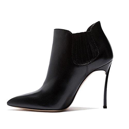 puntiaguda 35 D banda High Ankle Guantes Corto Mujeres Botas elástica 42 BLACK BLACK Heels nne Mode ¨ ¹ Piel wIavfq
