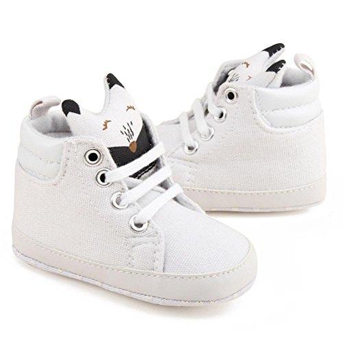 BZLine® Baby Mädchen Jungen Krippe Schuhe Prewalker Soft Sohle Turnschuhe Sneakers Weiß