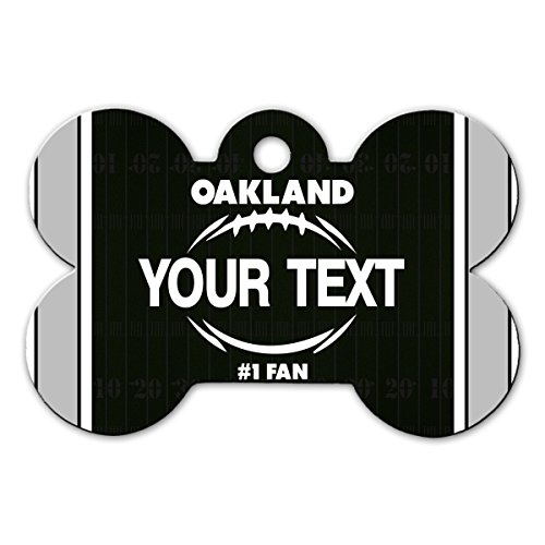 BleuReign(TM) Personalized Custom Name Football Oakland License Plate Bone Shaped Metal Pet ID Tag with Contact Information