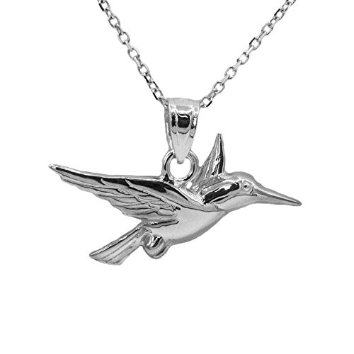 14k White Gold Hummingbird Pendant (20'' Mariner Chain) by Ice on Fire Jewelry