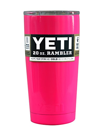 YETI Coolers Custom Powder Coated Insulated Stainless Steel 20 Ounce (20 oz) (20oz) Rambler Tumbler with Lid (Hot Pink Neon)