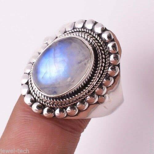 be41be3ad524 Anillo de plata de piedra lunar del arco iris, Piedra de luna del ...
