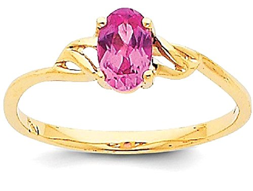 ICE CARATS 14k Yellow Gold Pink Tourmaline Birthstone Band Ring Size 7.00 Stone October Oval Style Fine Jewelry Gift Set For Women (Style Pink Ice Ring)