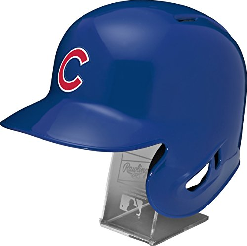 - Rawlings MLB Chicago Cubs Replica Batting Helmet with Engraved Stand, Official Size, Blue