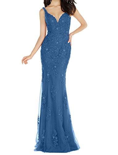 Abendkleider Brautmutterkleider Bodenlang Festlichkleider Meerjungfrau Langes Dunkel La Figurbetont mia Abschlussballkleider Blau Braut 8BxqgWnXOI