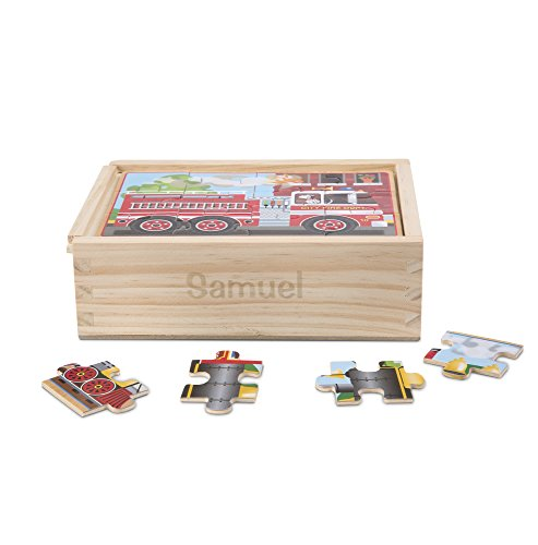 Melissa & Doug Wooden Jigsaw Puzzles in a Box – Vehicles