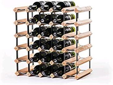 Z&HAO Gabinete De Madera del Vino del Almacenamiento del Hierro De La Madera Sólida Gabinete Clásico De Madera para Las Botellas - Tienda/Estante De La Vinoteca,30Bottle[Clase de eficiencia energética A]
