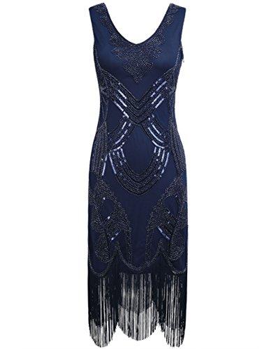 [PrettyGuide Women's 1920s Gatsby Art Deco Beads Fringed Cocktail Flapper Dress M Navy] (Blue Flapper Dress)