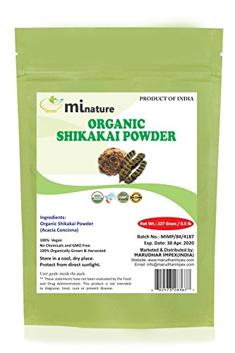 mi nature Organic Shikakai Powder 227g / 0.5 LB - Acacia concinna - Natural Hair Cleanser & Conditioner - Care for dandruff & thinning hair - Alleviates itchy scalp - Replaces shampoo & conditioner