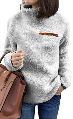 (onlypuff Pullover Sweaters for Women Warm Top Fleece Sweatshirt Tunic Solid Color Gray S)