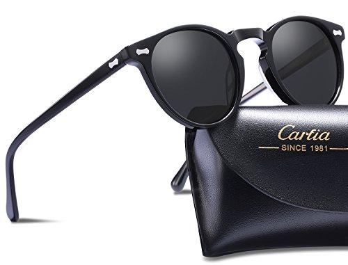 viajes Lente sol Estilo Marco UV400 Sol de Gris playa Gafas de gafas mujer Negro Polarizadas Carfia para Retro hombre conducir gafas 7HZwqnB