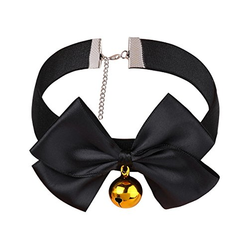 TiaoBug Women's Roleplay Adjustable Soft Ribbon Bow Bell Choker Collar Necklace Black Large