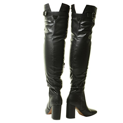 Ladies Thigh New 6 Boots 4 Size 8 7 Long Stretch The Heel Black 3 Sexy 5 Womens Black Knee High Over fqdSTq
