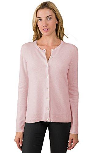 JENNIE LIU Womens 100% Cashmere Button Front Long Sleeve Crewneck Cardigan Sweater (L PETAL PINK)