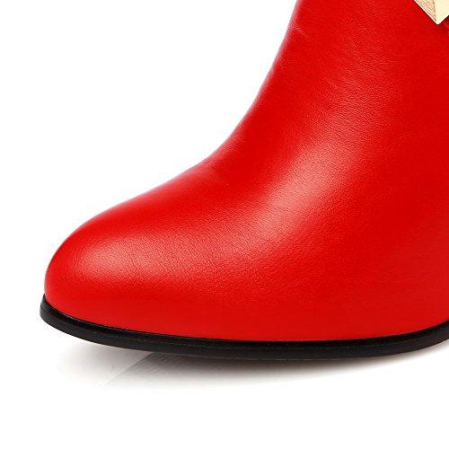 AgooLar Damen Hoher Absatz Rein Spitz Zehe Weiches Material Reißverschluss Stiefel Rot