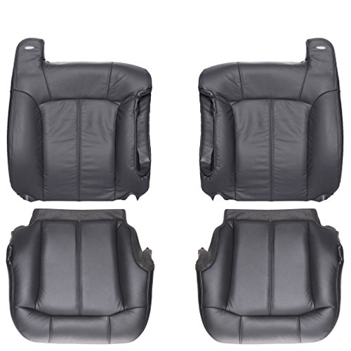 The Seat Shop Full Front Row Factory Match Leather Kit for Bucket Seats - Very Dark Pewter Gray (Compatible with 1999-2002 Chevrolet Chevy Silverado)