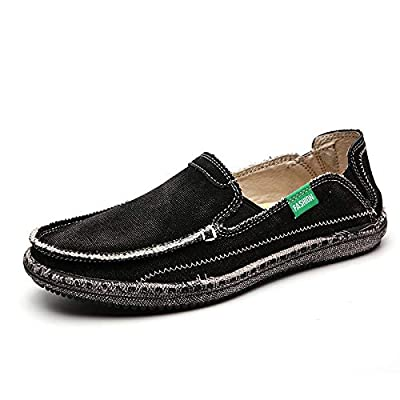 CASMAG Men's Casual Cloth Shoes Canvas Slip on Loafers Leisure Vintage Flat Boat Shoes