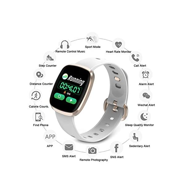 Smart Watch,Color full Screen Touch Smartwatch Fitness Watch Wrist Fitness  Tracker IP67 Waterproof with Heart Rate Monitor Pedometer Sports Activity