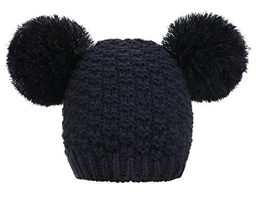 1db5d8a69 Women's Winter Chunky Knit Black Beanie Hat with Double Pom Pom Ears ...