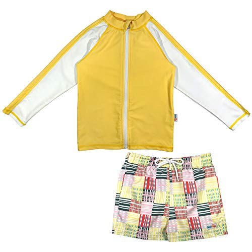 (SwimZip Boys Long Sleeve Rash Guard Swimsuit Board Shorts Set UPF 50+ |