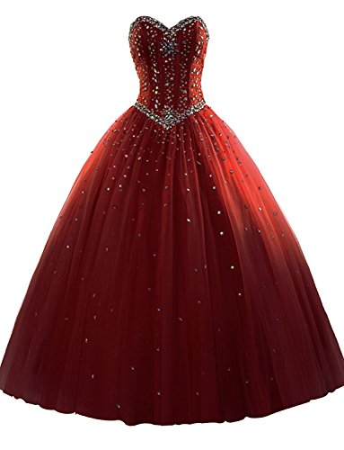 M Bridal Women's Rhinestones Strapless Lace-up Puffy Ball Gown Quinceanera Dress Burgundy Size 10 ()