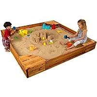KidKraft Wooden Backyard Sandbox w/Built-in Corner Seating & Mesh Cover