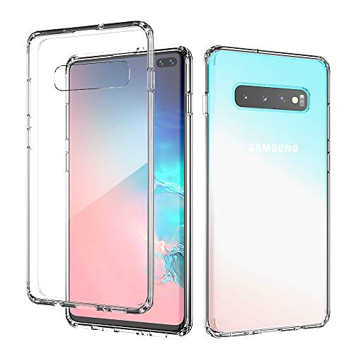 FLOVEME Samsung Galaxy S10 Plus Case, Hybrid Crystal Galaxy S10+ Clear Case Soft TPU Bumper Shockproof Hard Back Transparent Cover Compatible for Samsung S10+ 2019 6.4 inch, Support Wireless Charger
