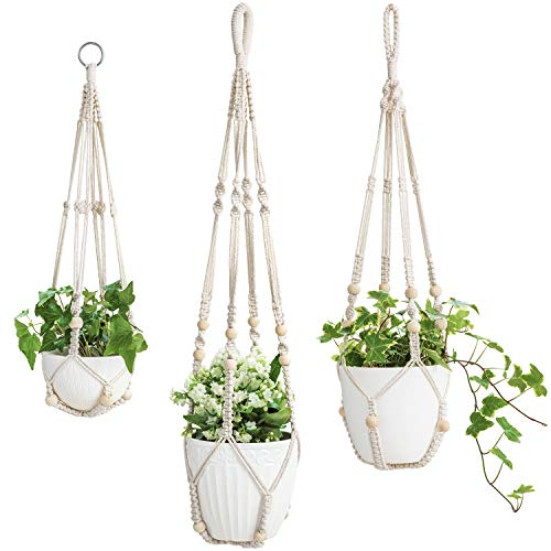 "Mkono 3 Pack Macrame Plant Hangers Indoor Hanging Planter Basket Flower Pot Holder Cotton Rope with Beads No Tassels, 23""/29""/35"""