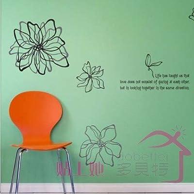 多贝特 曲线花朵 墙贴 卧室客厅碎花 浪漫满屋 大型花朵 大 浅灰色 浅