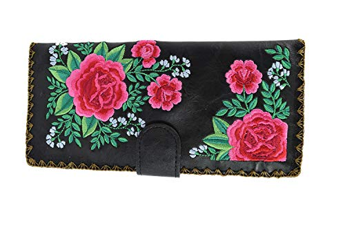 Lavishy Wallet - Pink Roses Bouquet Floral Embroidery wallet (Black)