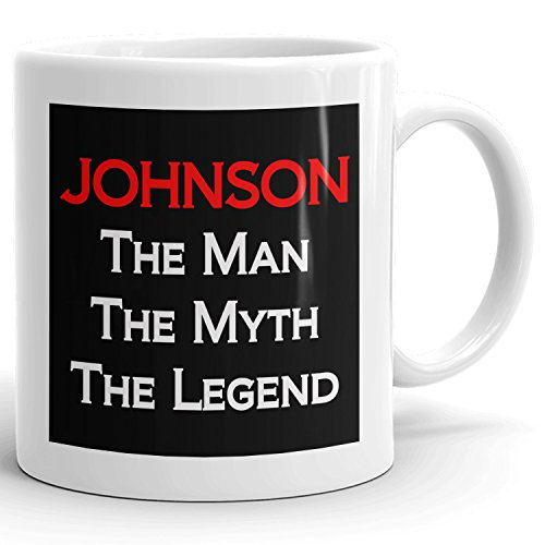 Johnson Coffee Mugs - The Man The Myth The Legend - Best Gifts for men - 11oz White Mug - Red