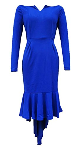 Cromoncent Femmes Cou V Moulante Plissée Bleu Marine Haute Robe De Soirée Épaule Faible Au Large