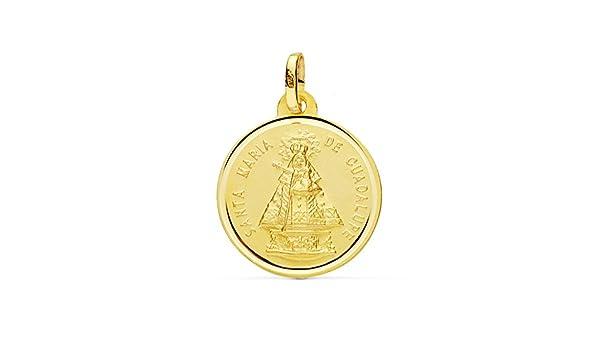 Alda Joyeros Medalla Virgen de Guadalupe de España 18 Ktes 18mm: Amazon.es: Joyería