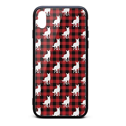 (Best Phone Case for iPhone Xs German Shepherd Dog Silhouette in Buffalo Plaid Rubber Frame Tempered Glass Covers Pretty Shock-Absorbing Skid-Proof Never Fade Mobile Cases New)