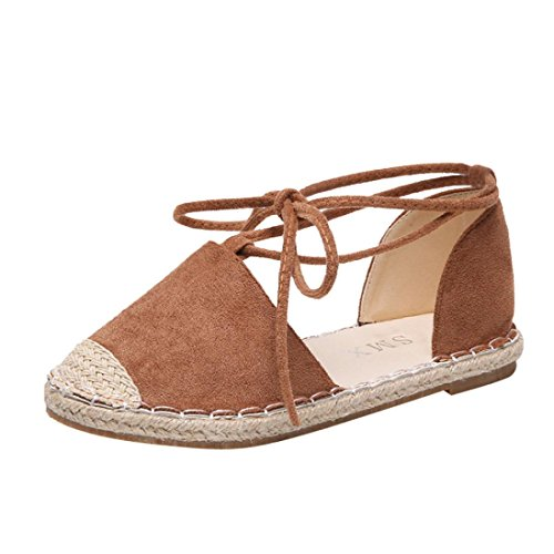 HLHN Women Sandals,Roman Ankle Strap Lace-up Flat Heel Straw Shoes Espadrilles Casual Vintage Lady Khaki