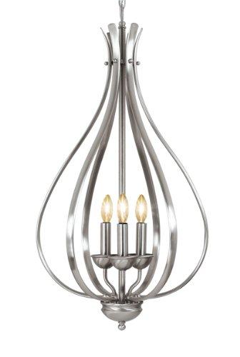 Woodbridge Lighting 24006-STN 3-Light Beaconsfield Pendant and Foyer, Satin Nickel
