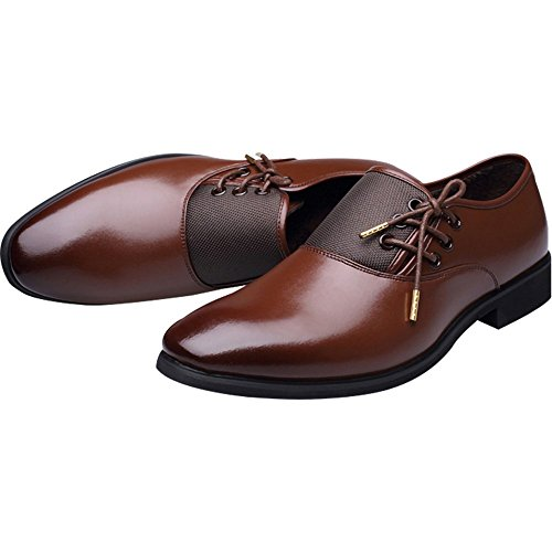 New 2018 Fashion Polyurethane Leather Dress Shoes for Men Formal Spring Pointed Toe Wedding Business Shoes Male with Lace (Men's 8.5 = Women's 9.5 / EU 42, Brown Gold Lace) by Jacky's Oxfords Shoes (Image #3)